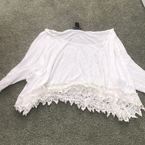 Tops - White blouse with lace bottom